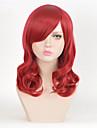 mode peruk mitten vågiga röda värmetåliga syntetiska peruker för kvinnor med hög kvalitet