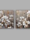 Peint a la main Abstrait / A fleurs/Botanique Peintures a l\'huile,Classique / Style europeen Deux Panneaux ToilePeinture a l\'huile