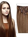 clip dans les extensions de cheveux BRESILIENNE cheveux humains extensions de cheveux ins clip droits 7pcs / 8pcs un jeu comme la couleur des images