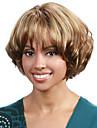 kort vågigt hår peruk med lugg brun och blond färg syntetiska peruker för kvinnor