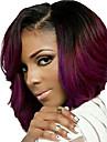 korta vågigt hår svart och röd två ton färg syntetiska peruker för kvinnor