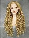 imstyle 26\'\'high marron de qualite longues perruques de dentelle synthetique avant boucles resistants a la chaleur