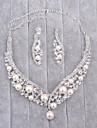 Bijuterii 1 Colier / 1 Pereche de Cercei Imitație de Perle / Ștras Nuntă 1set Dame Argint Cadouri de nunta