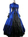 Une Piece/Robes Gothique Victorien Cosplay Vetrements Lolita Rouge Violet Noir Bleu Couleur Pleine Manches longues Long Collant Pour Femme