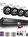 systeme sannce cctv 4ch pleine 720p ahd dvr 4pcs 1.0MP exterieur camera de surveillance de securite a domicile surveillance video kit 1tb