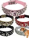 Hundar Halsband Justerbara/Infällbar / Dubbade / Fritid Solid Röd / Svart / Vit / Grön / Brun / Rosa / Grå / Guld PU Läder