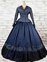 Tenue Lolita Classique/Traditionnelle Lolita Cosplay Vetrements Lolita Bleu Encre A Carreaux Manches longues Long Haut Robe Pour Femme
