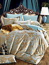 bedtoppings 4pcs mis queen 1 couette couverture couette couette / 1 feuille plate / 2 taie en coton jacquard a motif riche melange poly