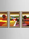 HANDMÅLAD LandskapTraditionellt Tre paneler Hang målad oljemålning For Hem-dekoration
