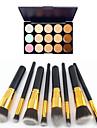 8st gyllene svart handtag kosmetiska makeup borste set&15 färger naturliga concealer (2 färg concealer välja)