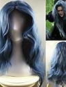 Femme Perruque Synthetique Sans bonnet Long Ondulation Prononcee Bleu Au Milieu Perruque de Cosplay Perruque Halloween Perruque de