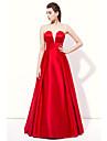 Floor-length Strapless Bridesmaid Dress - Sexy Sleeveless Stretch Satin