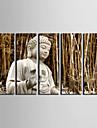 etire paysage d\'art de toile du buddha dans la foret de bambou ensemble de 5