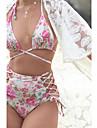 Femei Bikini Femei Cu Susținere Talie Înaltă Floral În Cruce Nailon Polyester Spandex