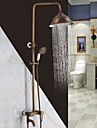 Antik Traditionell Duschsystem Vattenfall brett spary Handdusch inkluderad with  Keramisk Ventil Enda handtag Två hål for  Antik koppar ,