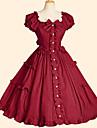 Une Piece/Robes Doux Rococo Cosplay Vetrements Lolita Couleur Pleine Manches courtes Genou Robe Pour Coton