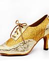 Går att specialbeställas Dam Dansskor Läder Glitter Läder Glitter Latinamerikansk Jazz Högklackade Individuellt anpassad klackNybörjare