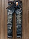 Bărbați Zvelt Blugi Pantaloni Chinos Pantaloni Simplu Solid Casul/Zilnic Talie Medie Fermoar Buton Bumbac Micro-elastic Primavara toamnă