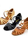 Chaussures de danse(Noir Marron Camel) -Personnalisables-Talon Personnalise-Satin-Latines Jazz Salsa Chaussures de Swing