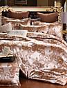 Fleur Ensembles housse de couette 4 Pieces Melange soie/coton Luxe Jacquard Melange soie/coton Lit 2 Places Lit 2 Places \'Queen\'1 pieces