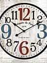 Traditionnel Rustique Retro Fleurs / Botaniques Personnages Musique Horloge murale,Rond Interieur/Exterieur Horloge