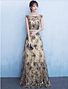 Teacă / coloană lingură de gât pardoseală lungime dantelă sequined rochie de seară formală cu cercevea / panglică