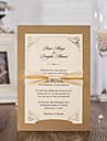 50pcs/lot Vintage Laser Cut Luxury Wedding Invitations Card with Ribbon Envelopes Seals Favor Wedding Event & Party Supplies CW6182