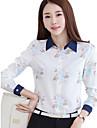 Dame Guler Cămașă Cămașă Muncă Plus Size Simplu(ă),Floral Manșon Lung Primăvară Toamnă-Albastru Subțire Poliester Spandex