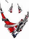 Set de Bijoux Boucles d\'oreille goutte Colliers Declaration Bijoux de Luxe Resine Strass Bleu de minuit Violet Rouge1 Collier 1 Paire de