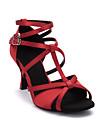 Chaussures de danse(Noir Bleu Marron Violet Rouge Marron fonce) -Personnalisables-Talon Bobine-Satin-Latines