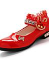 Sandale Primăvară Vară Pantofi de flori Fata Piele Originală Nuntă Casual Party & Seară Toc Jos Cârlig & Buclă Negru Roz Roșu