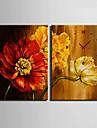 Modern/Contemporan Florale/Botanice Ceas de perete,Dreptunghiular Canava35X50cm(14inchx20inch)x2pcs/ 40 x 60cm(16inchx24inch)x2pcs/ 50 x