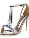 Dame Sandale Pantofi Club Sintetic Luciu Nuntă Rochie Party & Seară Toc Stiletto Piatră Semiprețioasă Albastru Roșu Argintiu Auriu