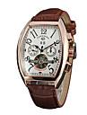 Unisex Ceas Elegant ceas mecanic Quartz Gravură scobită Piele Autentică Bandă Casual Negru Maro Negru Roz auriu
