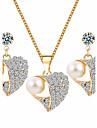 Pentru femei Seturi de bijuterii Ștras Design Basic costum de bijuterii Imitație de Perle Ștras Aliaj Heart Shape 1 Colier 1 Pereche de