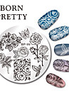 Ne jolie ronde nail art timbre estampage plaques modele papillon fleur design image plaque set 5.5cm bp-99