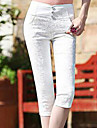 Damă Subțire Simplu Talie Inaltă,Elastic Pantaloni Chinos Pantaloni Dantelă Solid