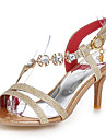Damă Sandale Vară Pantofi Club Luciu Materiale Personalizate Nuntă Rochie Party & Seară Toc Stiletto Piatră Semiprețioasă CataramăAuriu