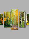 Pictat manual Peisaje Abstracte  Vertical Panoramic,Modern Cinci Panouri Canava Hang-pictate pictură în ulei For Pagina de decorare