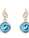 Boucles d\'oreille goujon Cristal Mode Personnalise euroamericains Simple Style Or Violet Rouge Bleu Bijoux PourMariage Soiree