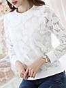 Damă Rotund Bluză Ieșire Casul/Zilnic Muncă Simplu(ă) Drăguț(e),Brodată Manșon Lung Poliester