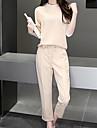 Damă Rotund Tricou Pantaloni Costume Ieșire Casul/Zilnic Muncă Simplu Drăguț,Solid Mânecă Lungă All Seasons vară Altele