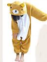 kigurumi Pyjamas Ours Collant/Combinaison Fete / Celebration Pyjamas Animale Halloween Blanc / Jaune Mosaique Flanelle Kigurumi Pour