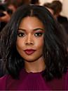 Femme Perruque Synthetique Sans bonnet Mi Longue Ondules Noir Perruque afro-americaine Pour Cheveux Africains Au Milieu Coupe Carre