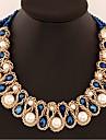 Dame Coliere cu Pandativ Coliere Cristal Perle Cristal Imitație de Perle Aliaj Triangle Shape Euramerican Declaratie de bijuterii La modă