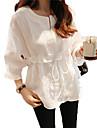 primăvară versiunea coreeană a manșon de bumbac cămașă rundă gât dantelă cămașă cămașă de sex feminin flounced bluză