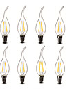 3.5 E14 Ampoules Bougies LED CA35 4 COB 400 lm Blanc Chaud Decorative AC 100-240 V 8 pieces