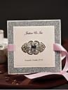 Pliat lateral Invitatii de nunta 50-Invitații Stil Clasic Hârtie Perlă Fundă panglică Ștrasuri