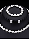 Seturi de bijuterii Κολιέ με Πέρλες Imitație de Perle Zirconiu Cubic La modă Multi-moduri Wear Aliaj Round Shape Alb1 Colier 1 Pereche de