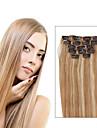 7 pcs / set p27 / 613 mixte fraise blonde clip dans les extensions de cheveux couleur du piano 14 pouces 18 pouces 100% cheveux humains